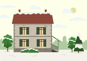 Free Vector Building With Landscape