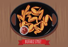 Buffalo Wings with Sauce on the Table Top View vector