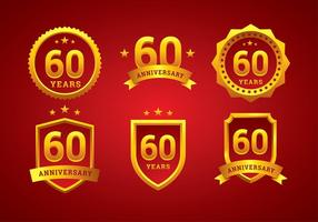 60-årsjubileumslogo Guldfri vektor