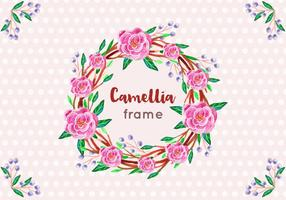 Free Vector Camellia Rahmen in Aquarell-Art