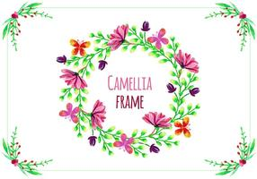 Vector Frame with Camellias