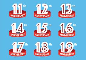 Anniversary logos with red ribbon vector