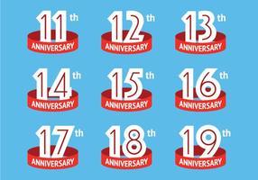 logotipos aniversario con la cinta roja vector