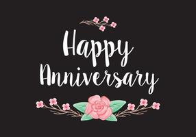 Floral Anniversary Card Vector