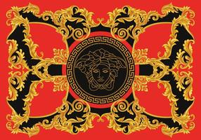 Modern Border vektorillustration Versace stil med guld- tappning grekiska Key