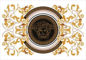 Moderne Border Vector Illustration Versace-Stil mit Goldweinlese-griechische Key