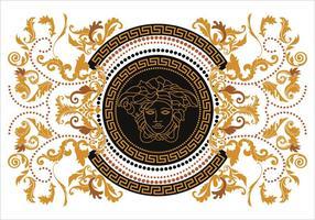 Modern Border Vector Illustration Versace Style with Gold Vintage Greek Key