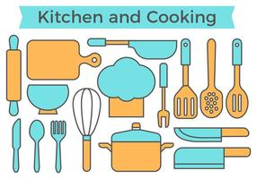 Gratis Kitchen and Cooking Icons Vector