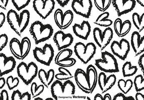 Vector Seamless Pattern With Hand Drawn Hearts