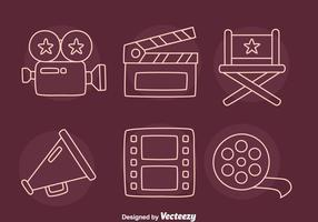Film Element Line Icons Vector