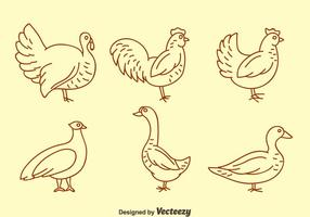 Fowl ligne Icons Vector