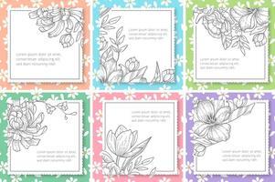 Retro bloemen vector Tekstframes