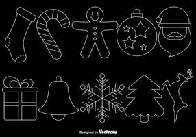 Christmas Line Style Icons On Black Background, Vector Set