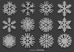 Desenhado mão Snowflakes Set - Vector