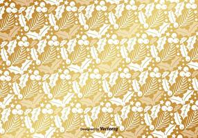 Golden Mistletoe Vector Pattern