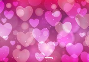 Fundo dos corações de Bokeh Vector