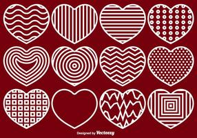 Vector Hearts Line Icons Set