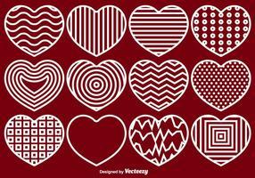 Vektor Hearts Linje Ikoner Set