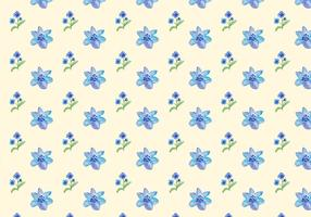 Aquarell Blaue Blumen Free Vector Seamless Pattern
