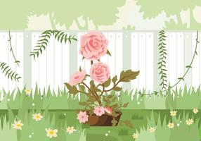Camellia Fleurs Rose Garden Illustration