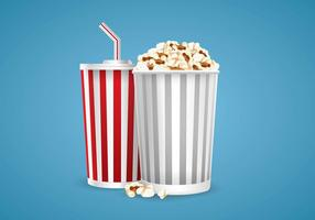 Illustration of Popcorn and Soda Vector