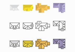 Púrpura y amarillo Tejados Diseño del vector