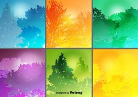 Colorful Forest Backgrounds Vector Set