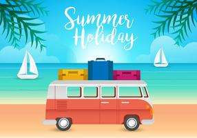 VW Camper and Beach Illustration Vectors