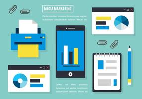 Gratis Flat Media Marketing VectorElementen