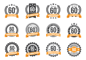 Anniversary Badges 60th Year Celebration vector