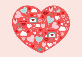 Ilustración del vector del corazón Día de San Valentín gratis