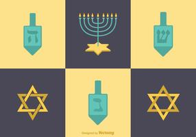Ícones do vetor livre lisos Hanukkah