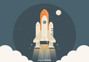 Free Spaceship Launch Vector Illustration