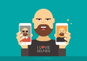 Free Man Affichage Selfies Vector Illustration