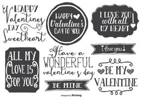 Cute Hand Drawn Style Valentine's Day Labels vector