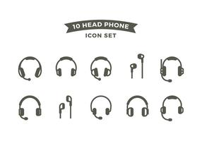 Head Phone Line Icon Set Free Vector