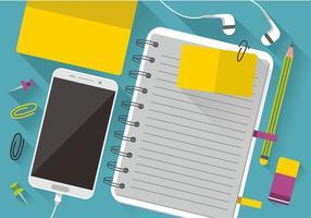 Notas del bloque de colores y el teléfono inteligente de diseño vectorial