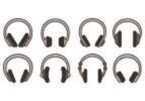 Set Of Head Phone Icons vector