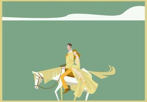 Couple With White Blonde Horse Illustration