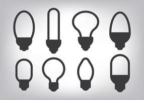 Simple Light Ampul Icons Vector