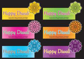 Mandala Diwali bandeira Vetores