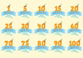 Celebratory Anniversary Badge Vectors