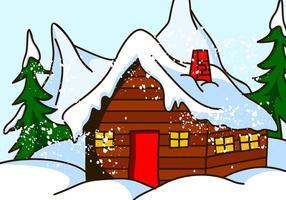 Chalet Huis in Sneeuw Vector