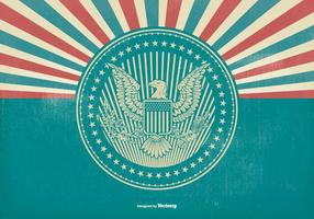 American Eagle Seal on Retro Background