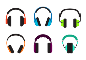 Flat Wireless Head Phone Vector