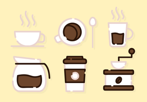 Cute Coffee Elements Vector