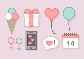 Day Elements Vector Cute Valentine