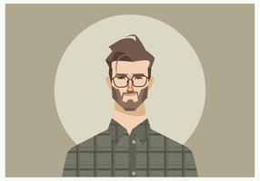 Young Man With Glasses And Flannel Shirt Vector