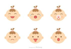 Baby Facial Expression Icons Vector