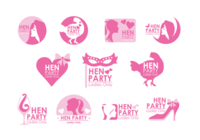 Hen Party Badges Vector